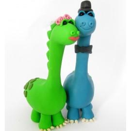 Custom Dinosaur Bride and Groom Wedding Cake Toppers