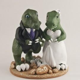Custom T-Rex Dinosaur Wedding Cake Topper