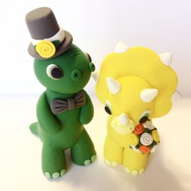 Personalized Dinosaur Wedding Cake Topper