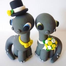 Personalized Dinosaur Wedding Cake Topper