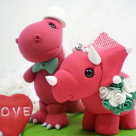 Custom Dinosaur Wedding Cake Toppers