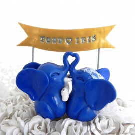 Custom Elephants Bride And Groom Wedding Cake Toppers