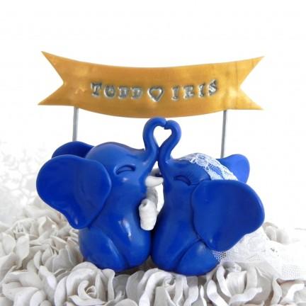 Custom Elephants Bride And Groom Wedding Cake Toppers