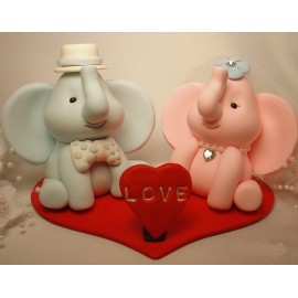 Personalised Elephant Bride And Groom Wedding Cake Toppers