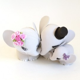 Personalised Elephant Family Bride And Groom Wedding Cake Toppers