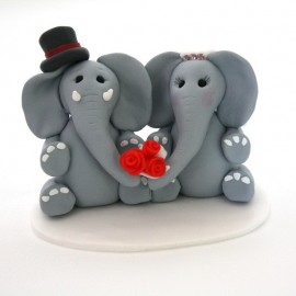 Unique Elephant Bride And Groom Wedding Cake Toppers
