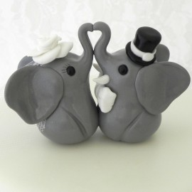 Custom Elephant Bride And Groom Wedding Cake Toppers