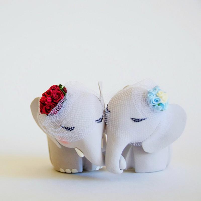Custom Elephant Lesbian Same Sex Wedding Cake Toppers