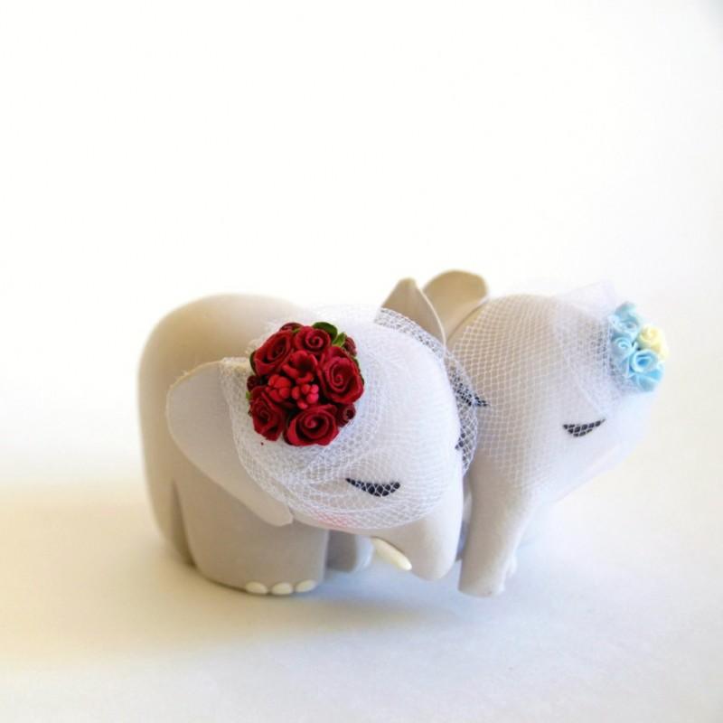 Custom Elephant Bride And Groom Wedding Cake Toppers