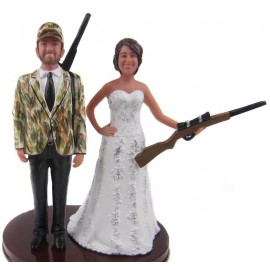 Hunting Bride And Groom Wedding Cake Toppers