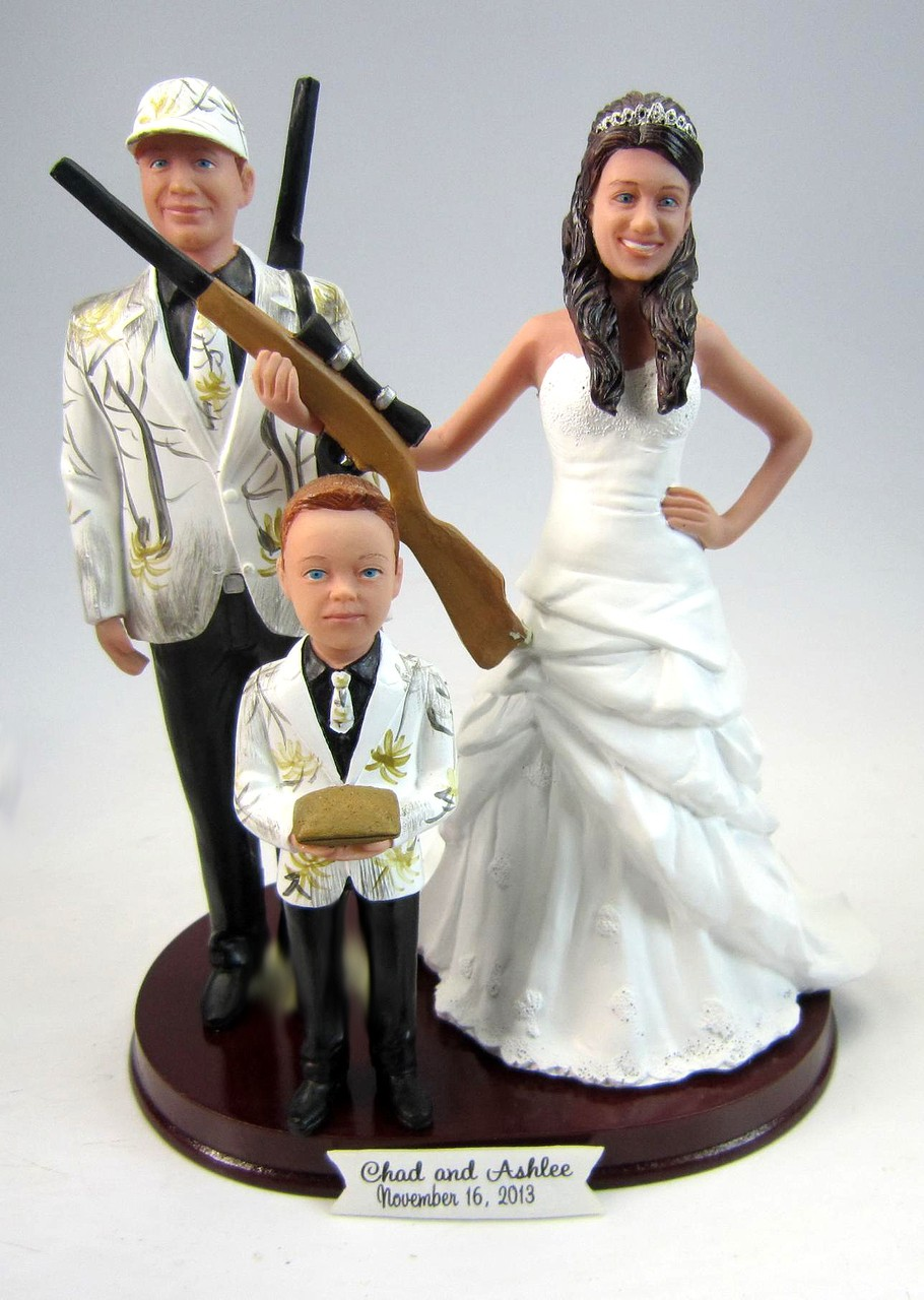 Hunting Bride Groom And Kid Wedding Cake Toppers