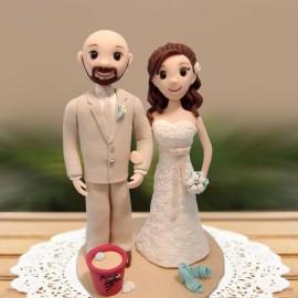 Custom Cartoon Beach Themed Wedding Cake Toppers