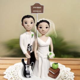 Custom Cartoon Guitar Wedding Cake Toppers