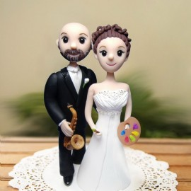 Custom Cartoon Musician And Artist Wedding Cake Toppers