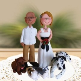 Custom Cartoon Wedding Cake Toppers With Pets