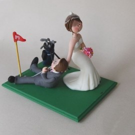 Funny Cartoon Golf Wedding Cake Toppers Ball And Chain