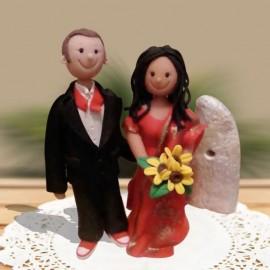 Custom Cartoon Ethnic Wedding Cake Toppers