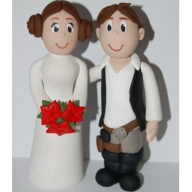 Star Wars Hans Solo and Princess Leia Wedding Cake Toppers