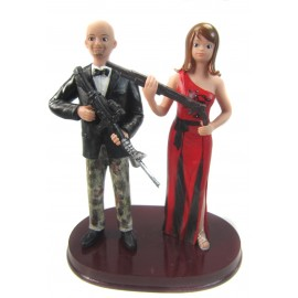 Hunting Groom And Sexy Bride Wedding Cake Toppers