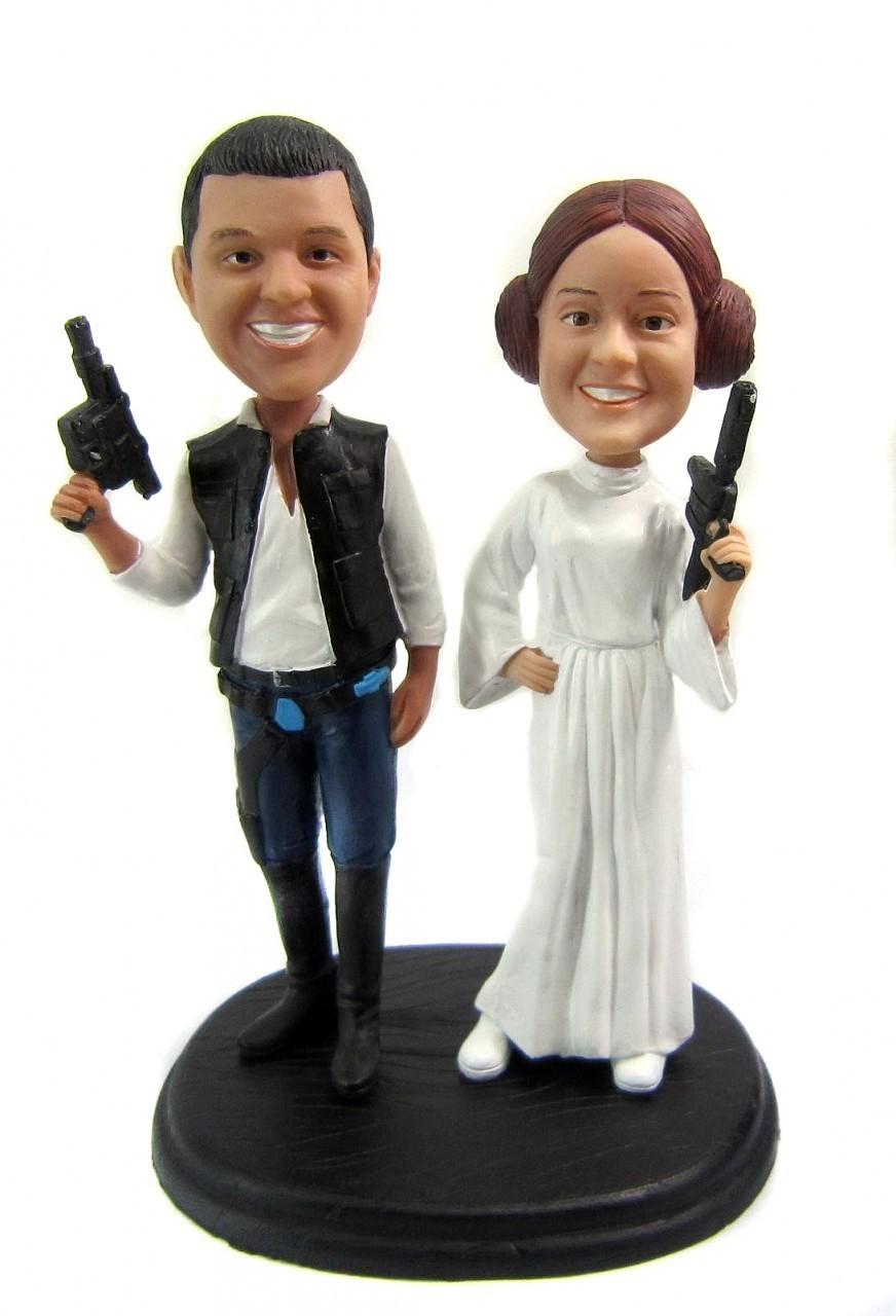 Star War Wedding Cake Topper Han Solo & Princess Leia