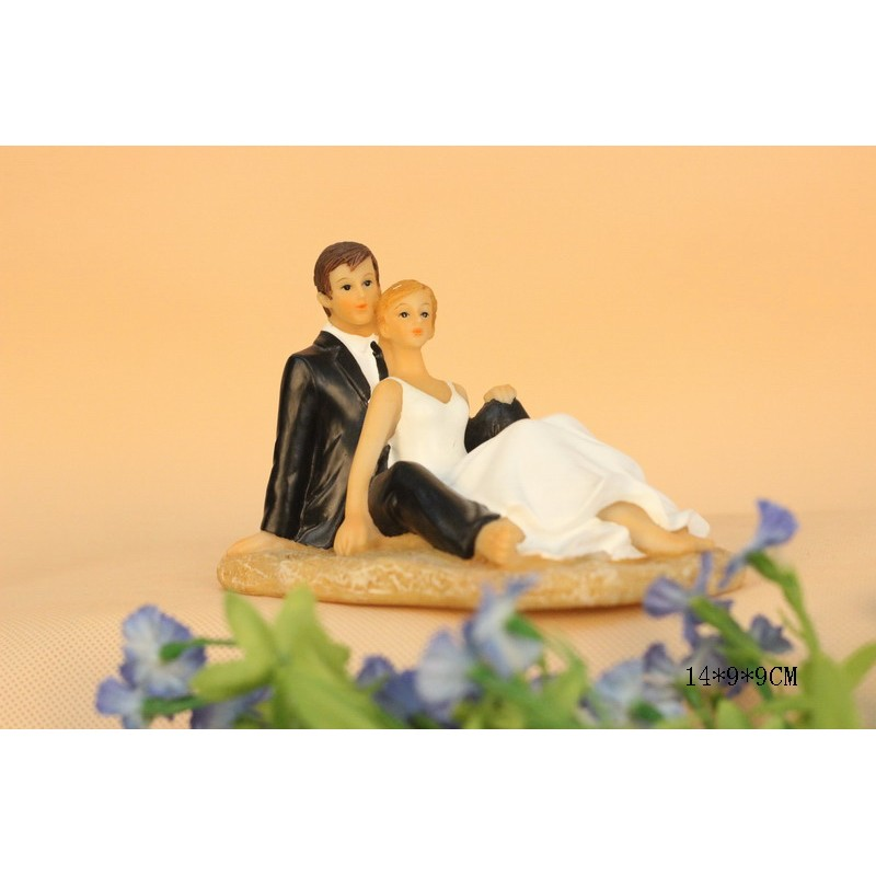 Quick Ship Bride And Groom Sit On The Beach Wedding Cake Toppers