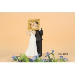 Quick Ship Groom Kiss The Bride In A Photo Frame Wedding Cake Toppers