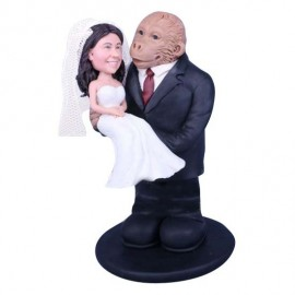 King Kong in Tuxedo Carrying Bride Wedding Cake Toppers