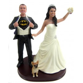 Batman Bride And Groom With A Dog Wedding Cake Toppers