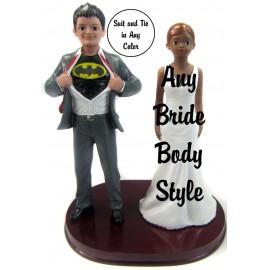 Custom Batman Bride And Groom Wedding Cake Toppers