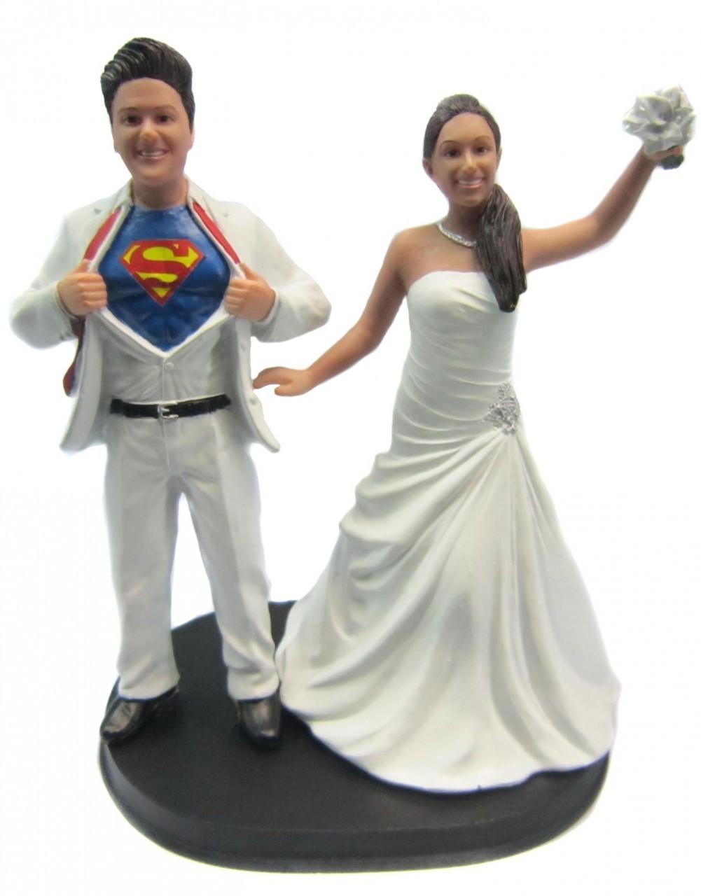 Custom Superman Wedding Cake Toppers