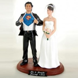 Custom Superman Wedding Cake Toppers