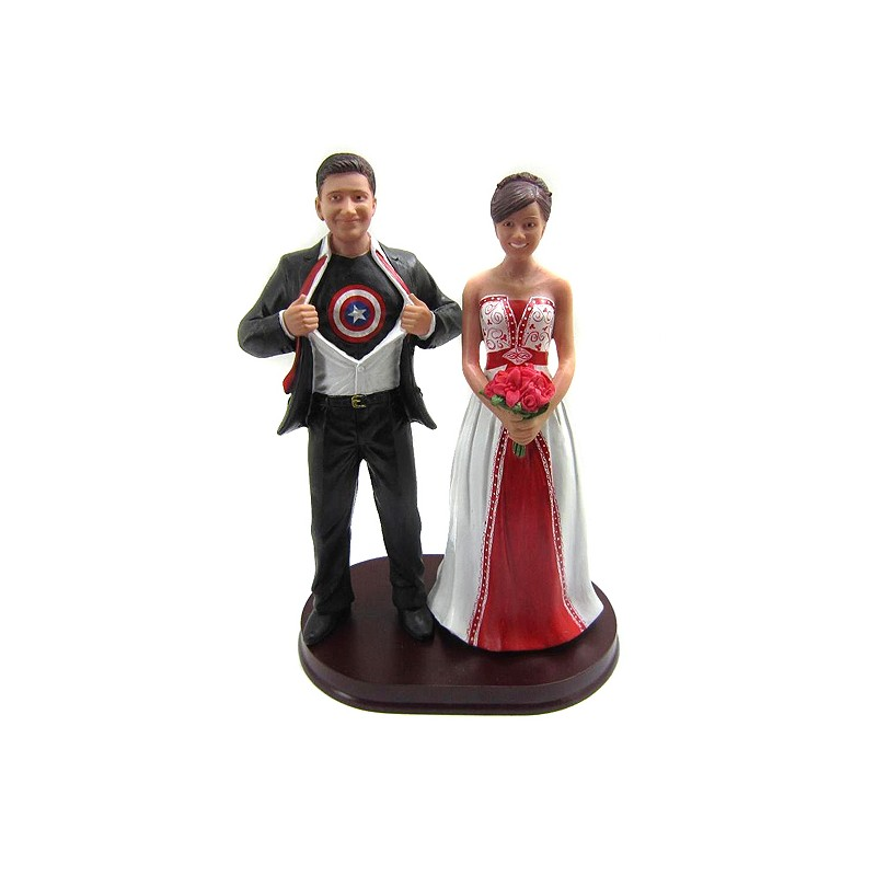Funny Captain America Wedding Cake Toppers