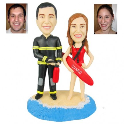 Firefighter Beach Themed 30th Wedding Anniversary Cake Toppers
