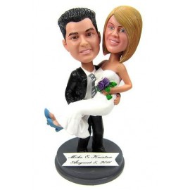 Funny Groom Carrying His Bride Cake Topper