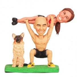 Funny Weight Lifting Bride And Groom Beach Wedding Cake Toppers With Dog