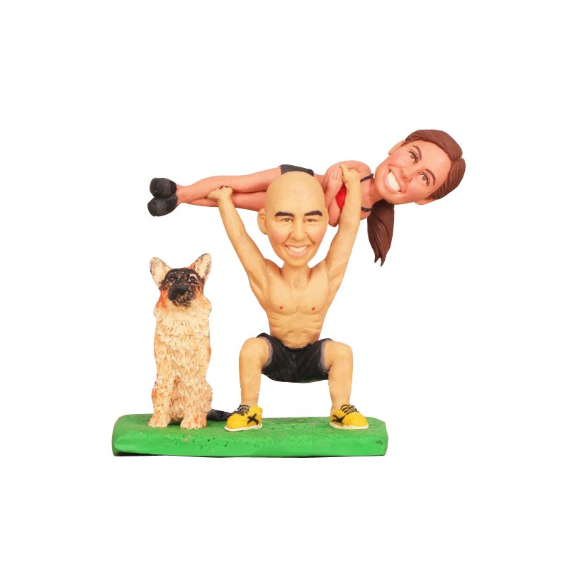 Funny weight lifting bride and groom beach wedding cake toppers with dog junglespirit Choice Image