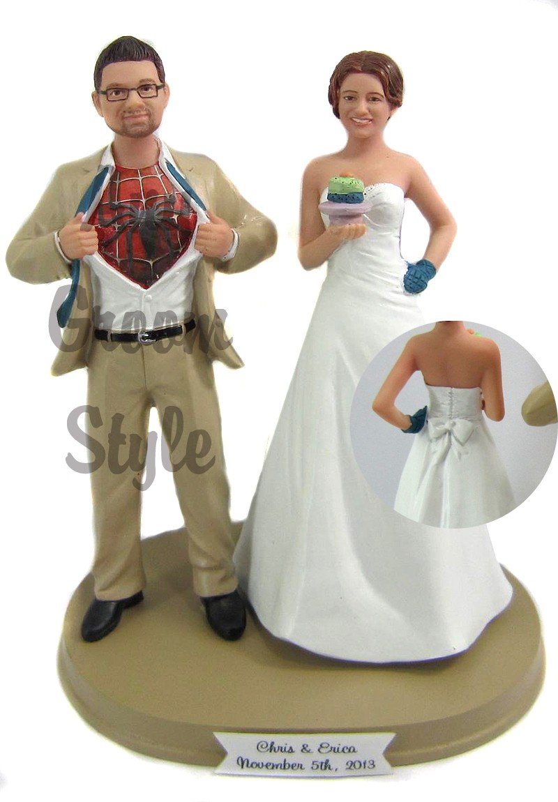 Funny Spiderman Wedding Cake Toppers