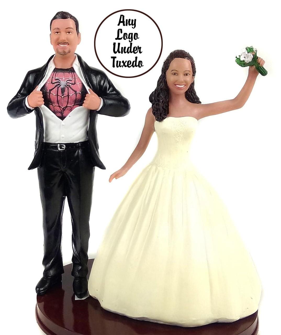 Custom spiderman Wedding Cake Toppers