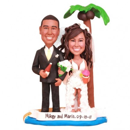Bride And Groom Beach Themed Personalised Wedding Cake Toppers