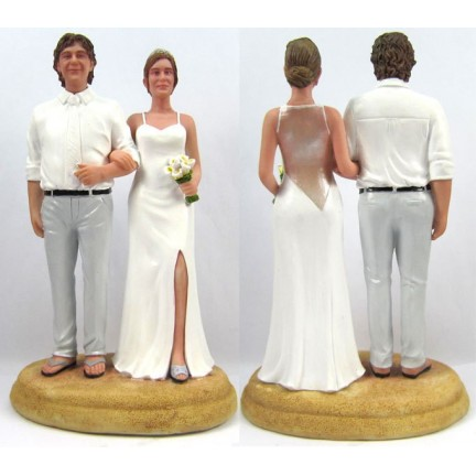Bride And Groom Beach Theme Vintage Wedding Cake Toppers