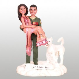 Indian Bride and Air Force Groom Wedding Cake Toppers
