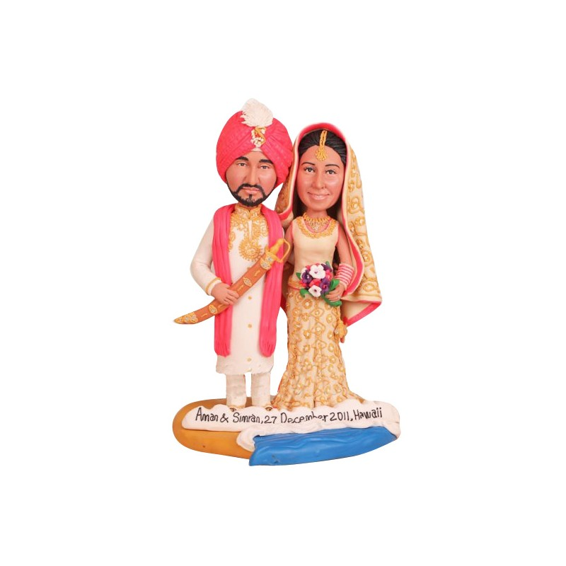 indian bride and groom wedding cake toppers
