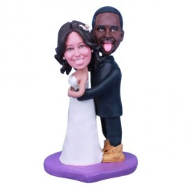 Interracial American And African Wedding Cake Toppers