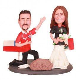 Multinational Chile and Mexico Football Wedding Cake Toppers