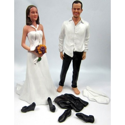 Casual Bride And Groom Beach Personalized Wedding Cake Toppers