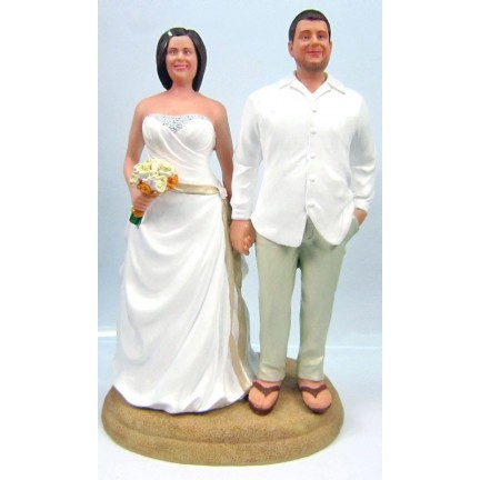 Unique Bride And Groom Beach Custom Wedding Cake Toppers