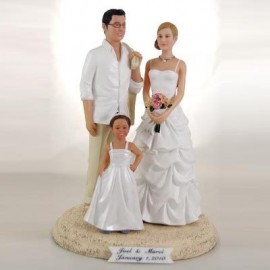 Bride And Groom Beach Custom Wedding Cake Toppers With Kid