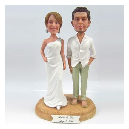 Unique Bride And Groom Beach Custom Wedding Cake Toppers