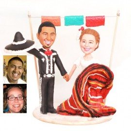 Del Folklorico Dancer and Mariachi Theme Wedding Cake Toppers