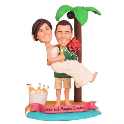 Funny Bride And Groom Beach Theme Personalised Wedding Cake Toppers